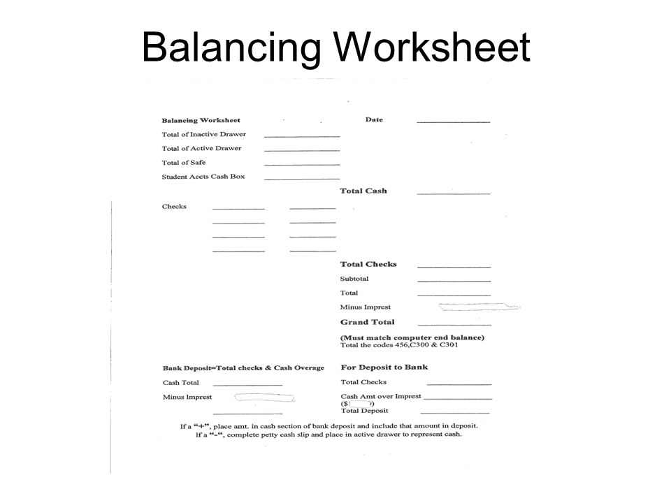 Balancing Worksheet