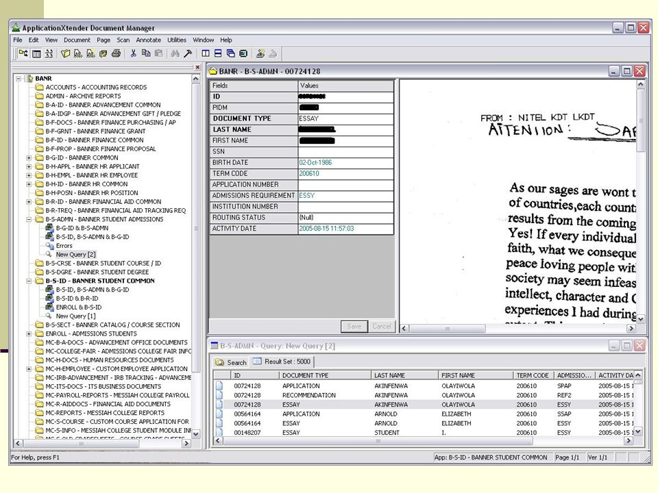 In Application Xtender Document Manager – You can see the applications list on the right, document index in the center, the document to the left and the query window at the bottom.