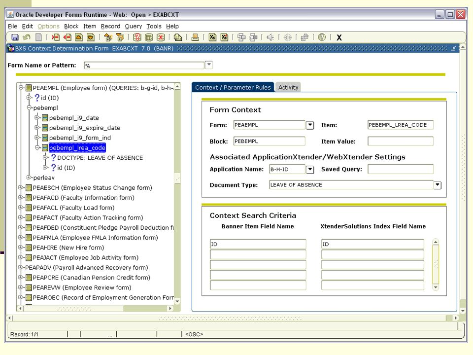 Another form you will become very familiar with is EXABCXT – This is the form you will use to link your imaging system applications to banner forms. You see the banner form sections, the imaging system application and document types they link too. As you can see you can take it right to the item value level. In the Context search area you see what items need to match between the two systems for documents to be displayed. If this was a student record you might see ID, Term Code, and status listed here.
