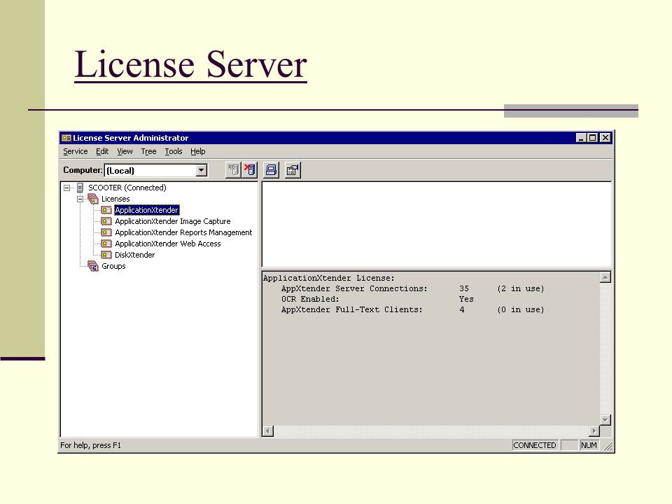 License Server There's not much to explain here other than the break out of licenses.