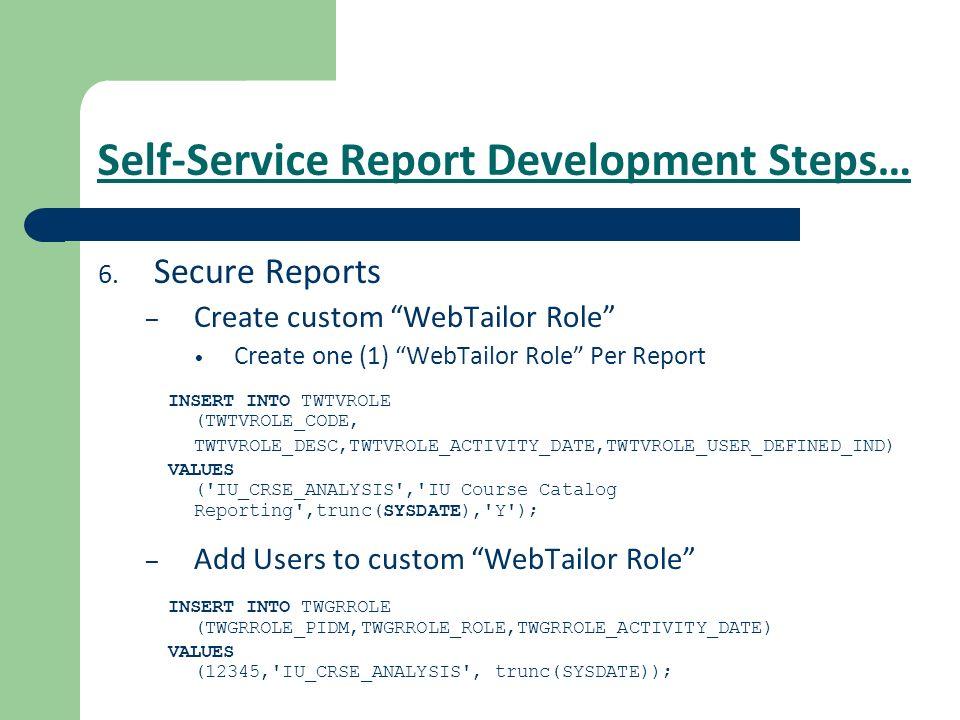 Self-Service Report Development Steps…