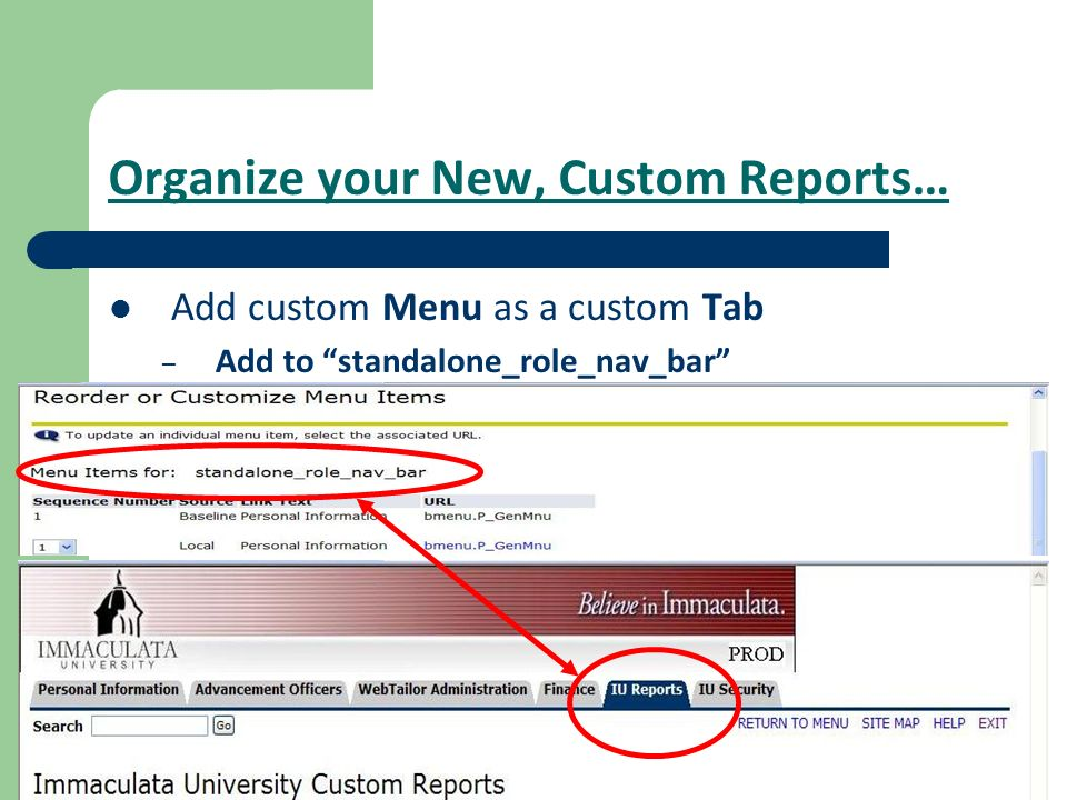 Organize your New, Custom Reports…