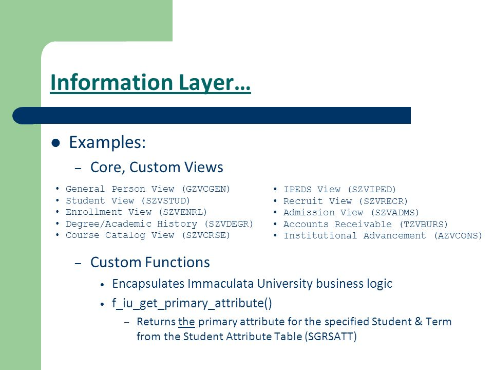 Information Layer… Examples: Core, Custom Views Custom Functions