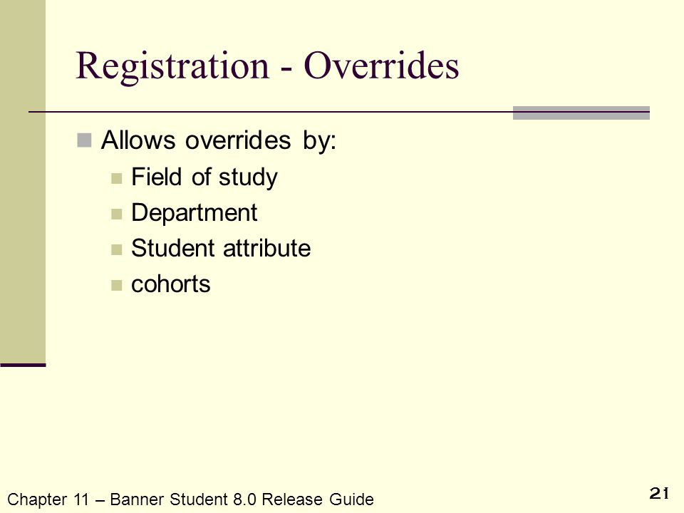 Registration - Overrides