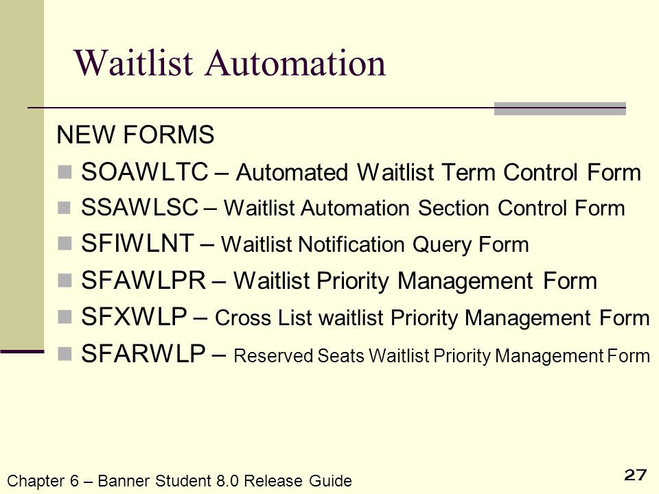 Waitlist Automation NEW FORMS