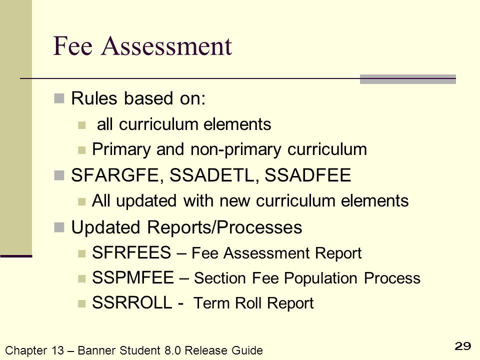 Fee Assessment Rules based on: SFARGFE, SSADETL, SSADFEE