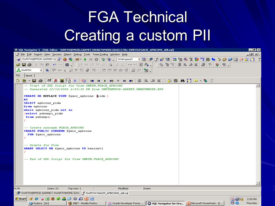 FGA Technical Creating a custom PII