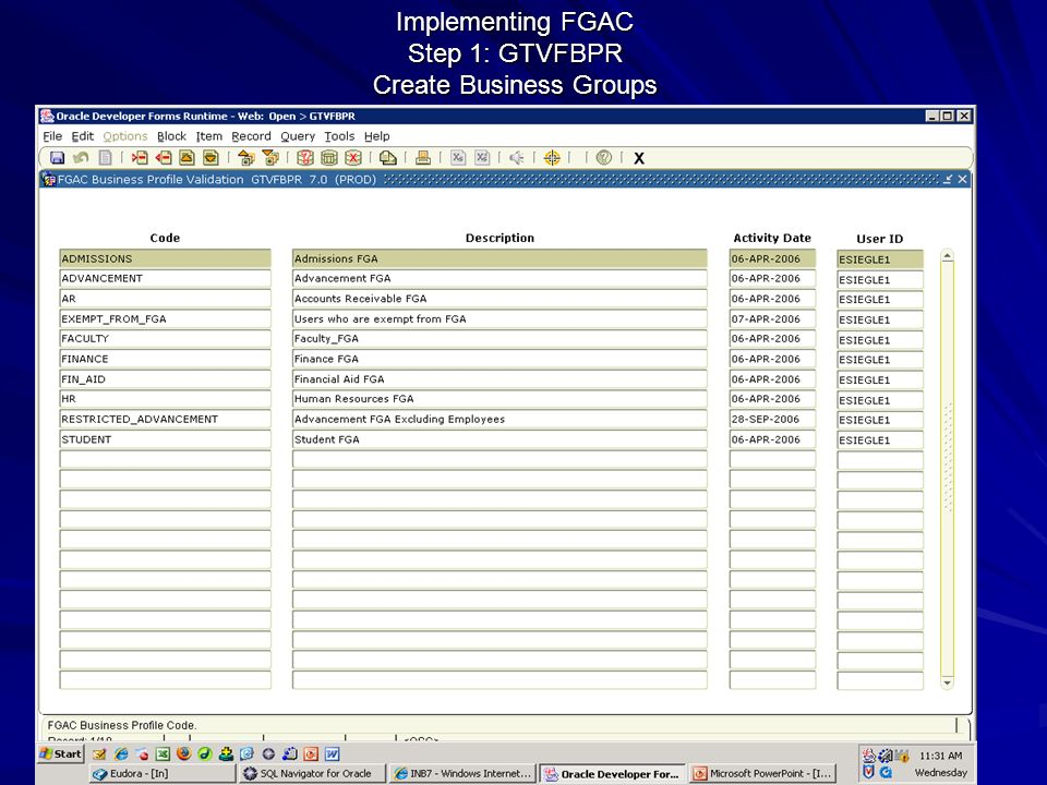 Implementing FGAC Step 1: GTVFBPR Create Business Groups