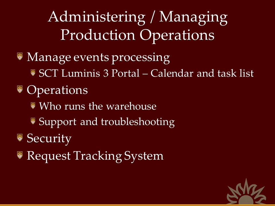 Administering / Managing Production Operations