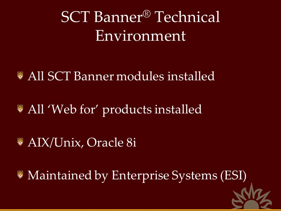 SCT Banner® Technical Environment