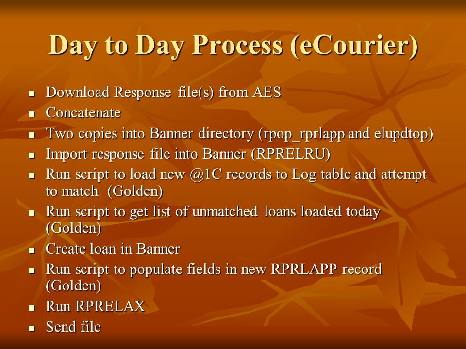 Day to Day Process (eCourier)