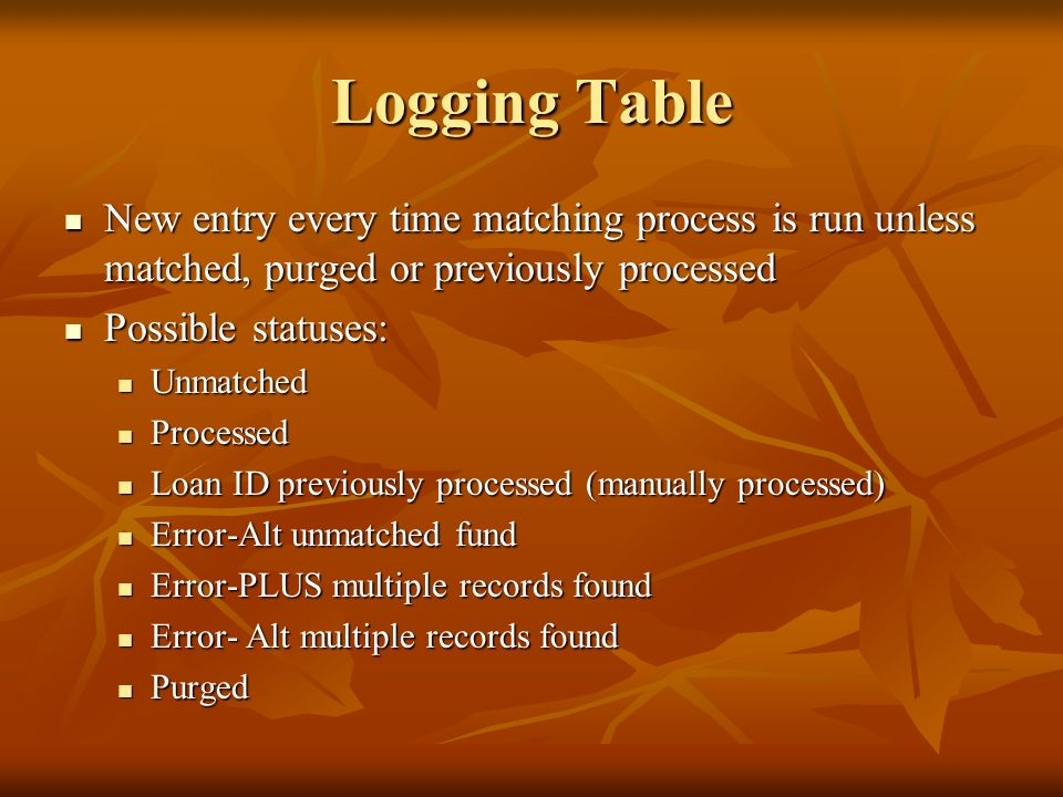 Logging Table New entry every time matching process is run unless matched, purged or previously processed.