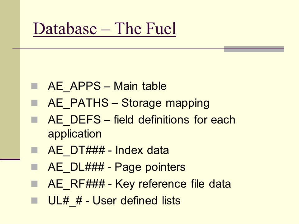 Database – The Fuel AE_APPS – Main table AE_PATHS – Storage mapping