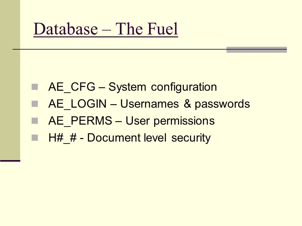 Database – The Fuel AE_CFG – System configuration