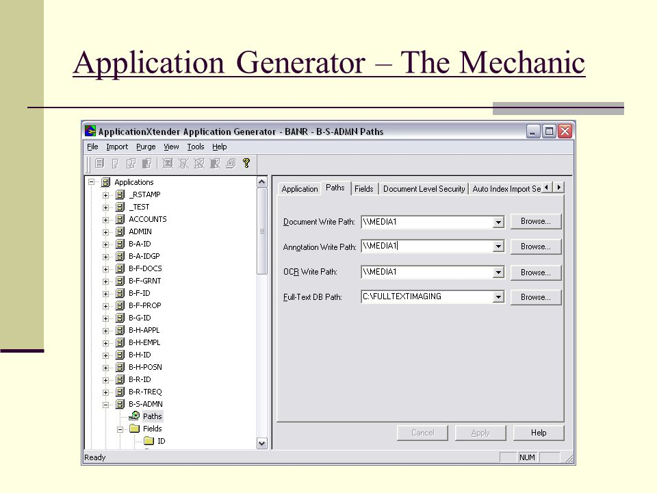 Application Generator – The Mechanic