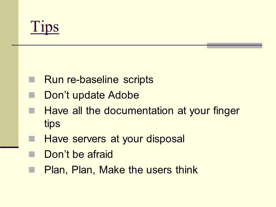 Tips Run re-baseline scripts Don't update Adobe