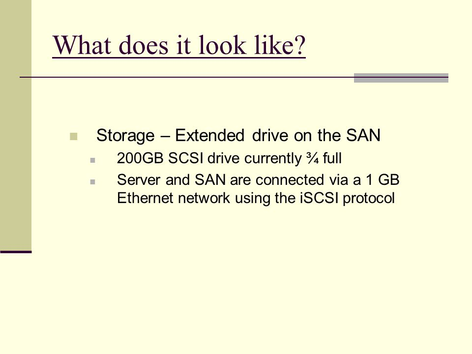 What does it look like Storage – Extended drive on the SAN