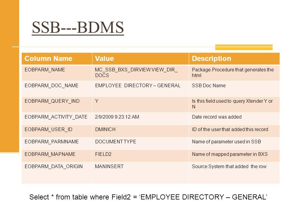 SSB---BDMS Column Name Value Description