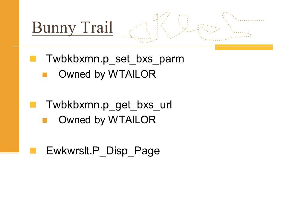 Bunny Trail Twbkbxmn.p_set_bxs_parm Twbkbxmn.p_get_bxs_url