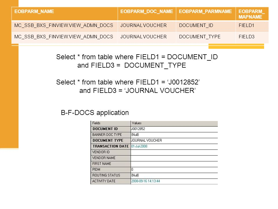 Select * from table where FIELD1 = DOCUMENT_ID