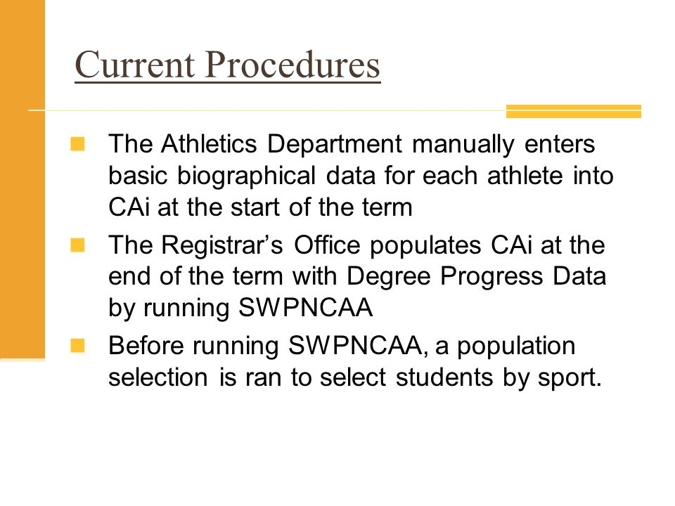 Current Procedures The Athletics Department manually enters basic biographical data for each athlete into CAi at the start of the term.