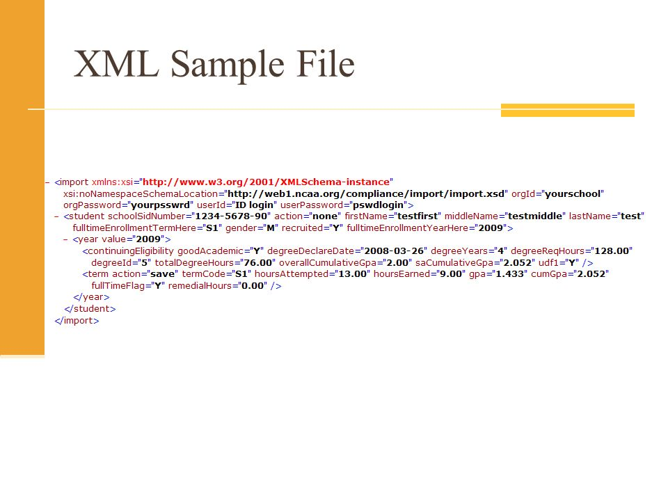 XML Sample File