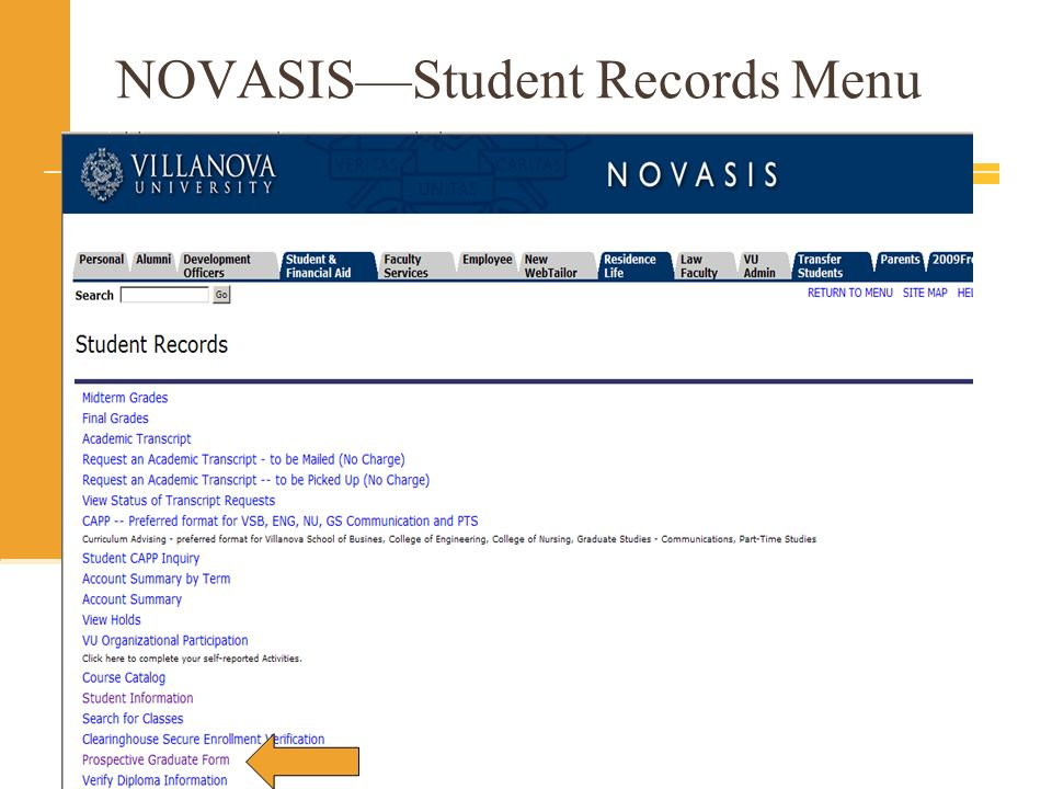 NOVASIS—Student Records Menu