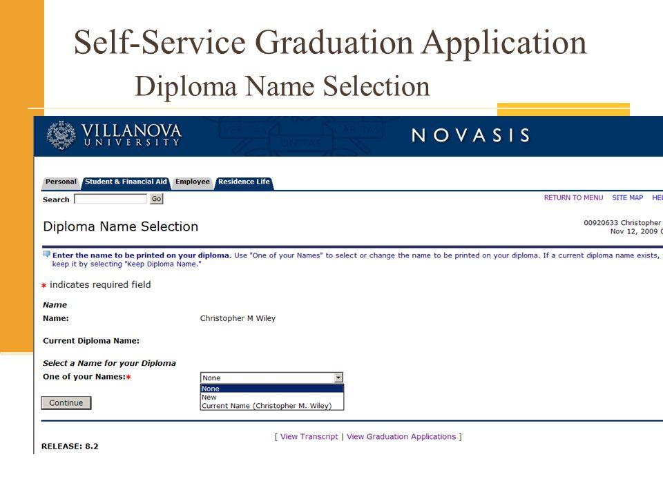 Self-Service Graduation Application Diploma Name Selection