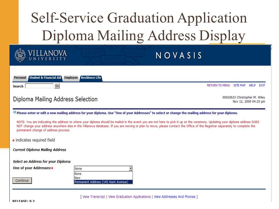 Self-Service Graduation Application Diploma Mailing Address Display