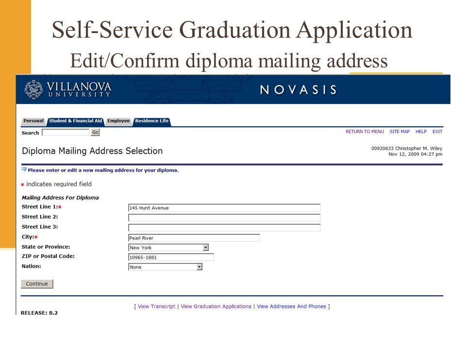 Self-Service Graduation Application Edit/Confirm diploma mailing address