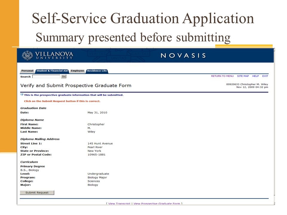 Self-Service Graduation Application Summary presented before submitting