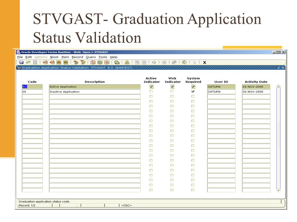 STVGAST- Graduation Application Status Validation