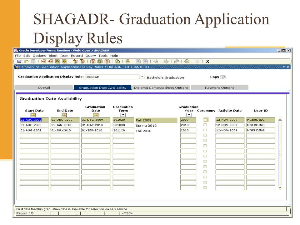 SHAGADR- Graduation Application Display Rules