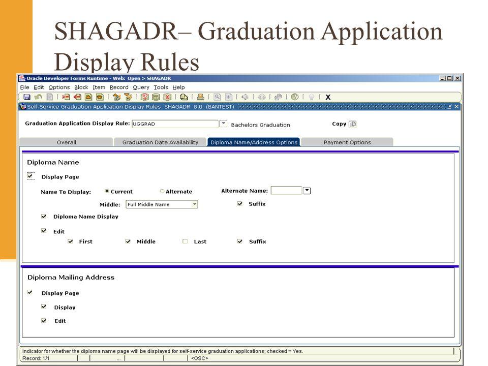 SHAGADR– Graduation Application Display Rules