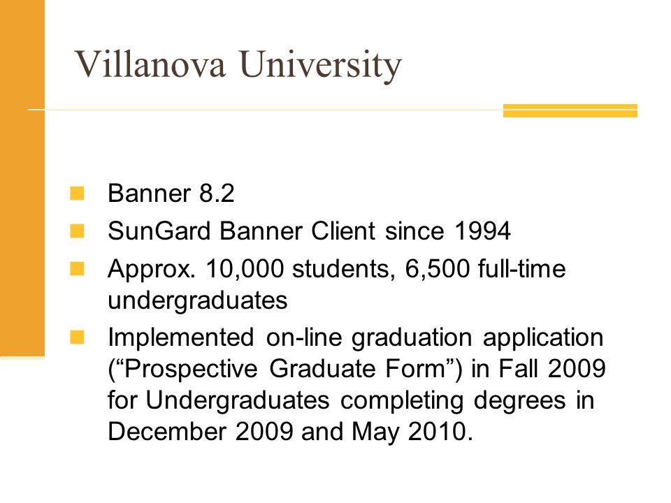 Villanova University Banner 8.2 SunGard Banner Client since 1994