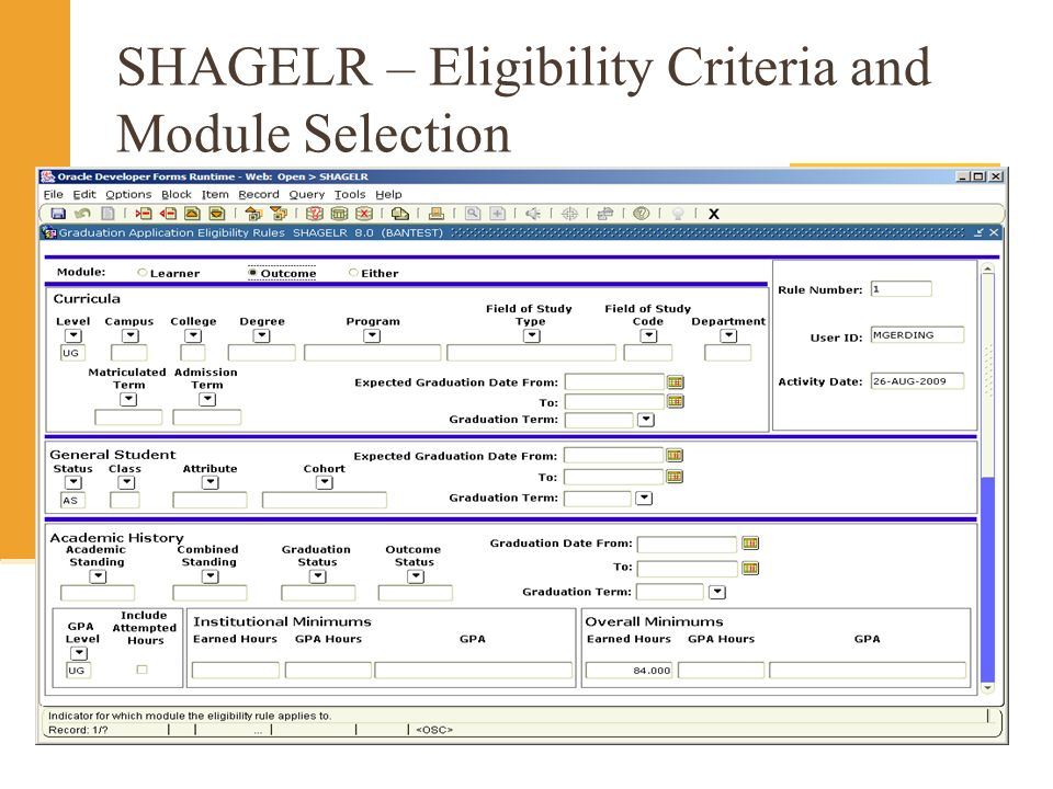 SHAGELR – Eligibility Criteria and Module Selection