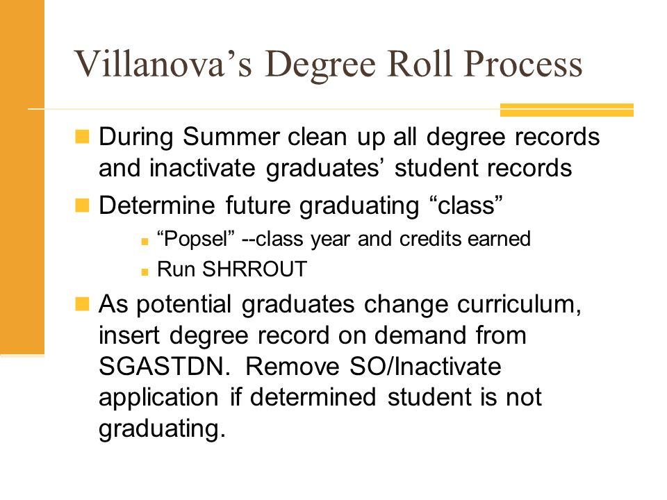 Villanova's Degree Roll Process