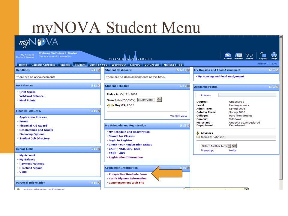myNOVA Student Menu