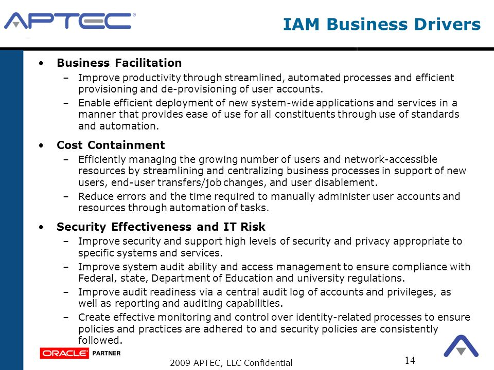 IAM Business Drivers Business Facilitation Cost Containment