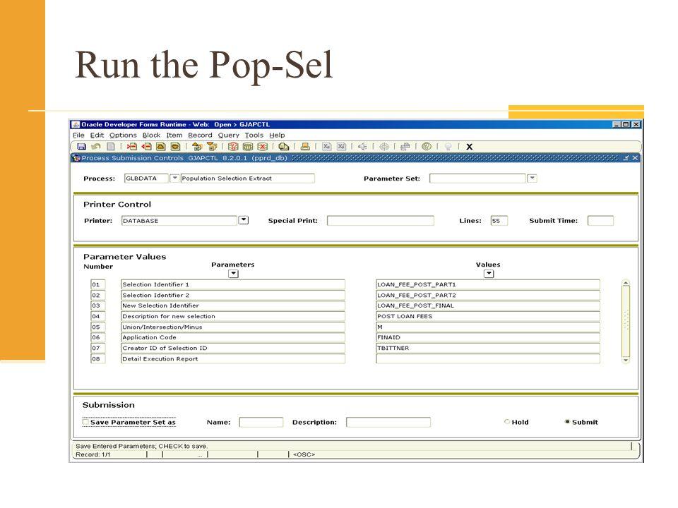 Run the Pop-Sel