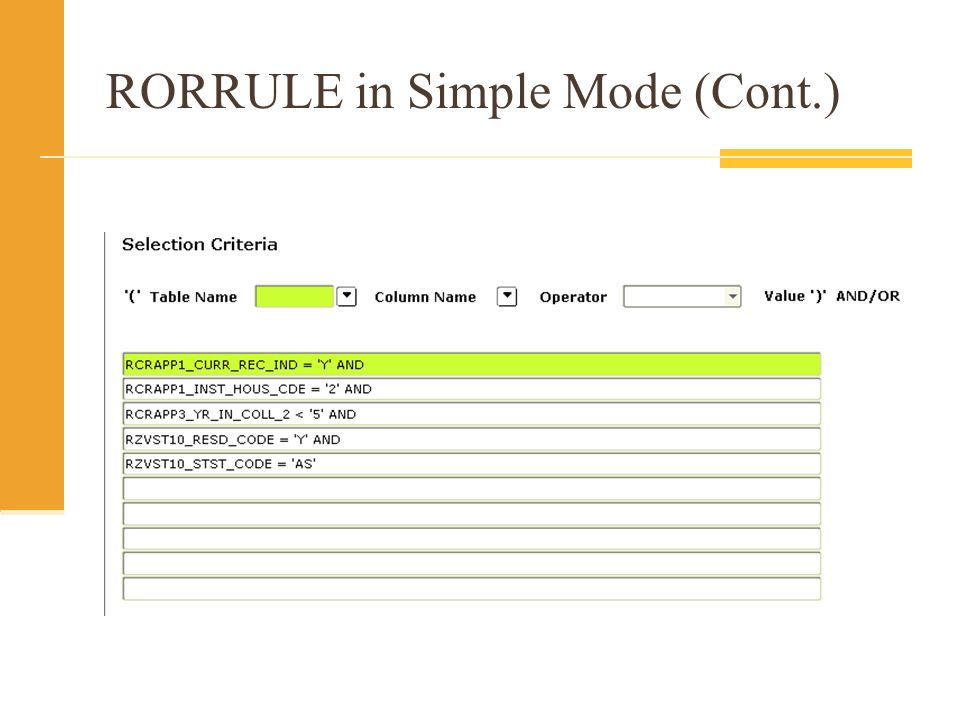 RORRULE in Simple Mode (Cont.)