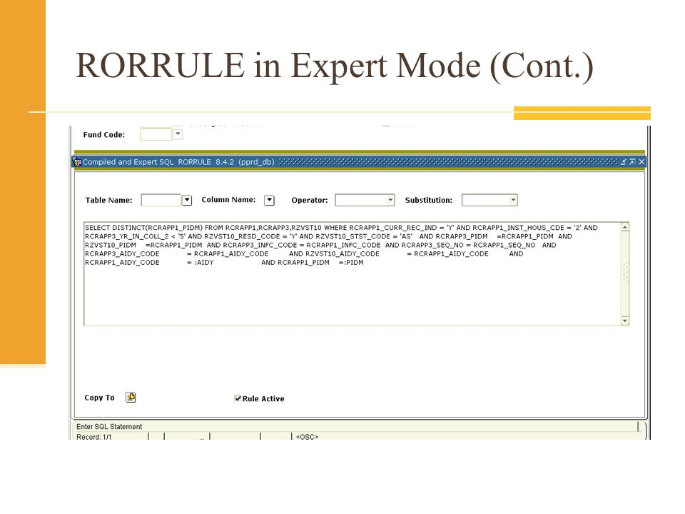 RORRULE in Expert Mode (Cont.)