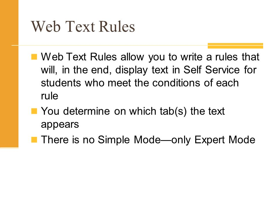 Web Text Rules