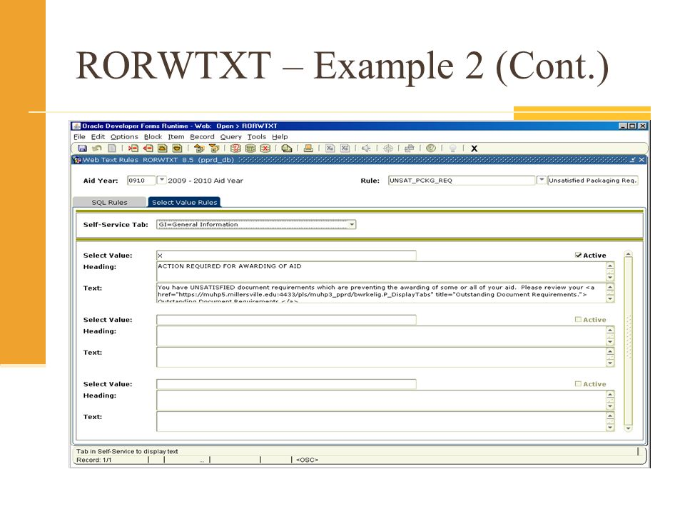 RORWTXT – Example 2 (Cont.)