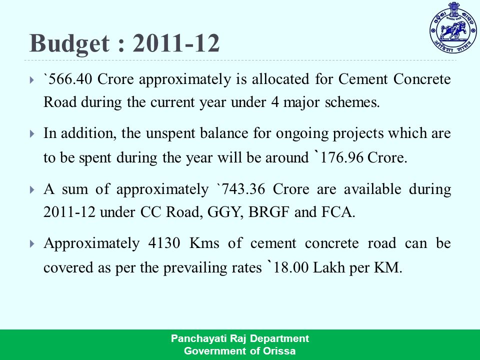 Budget : ` Crore approximately is allocated for Cement Concrete Road during the current year under 4 major schemes.