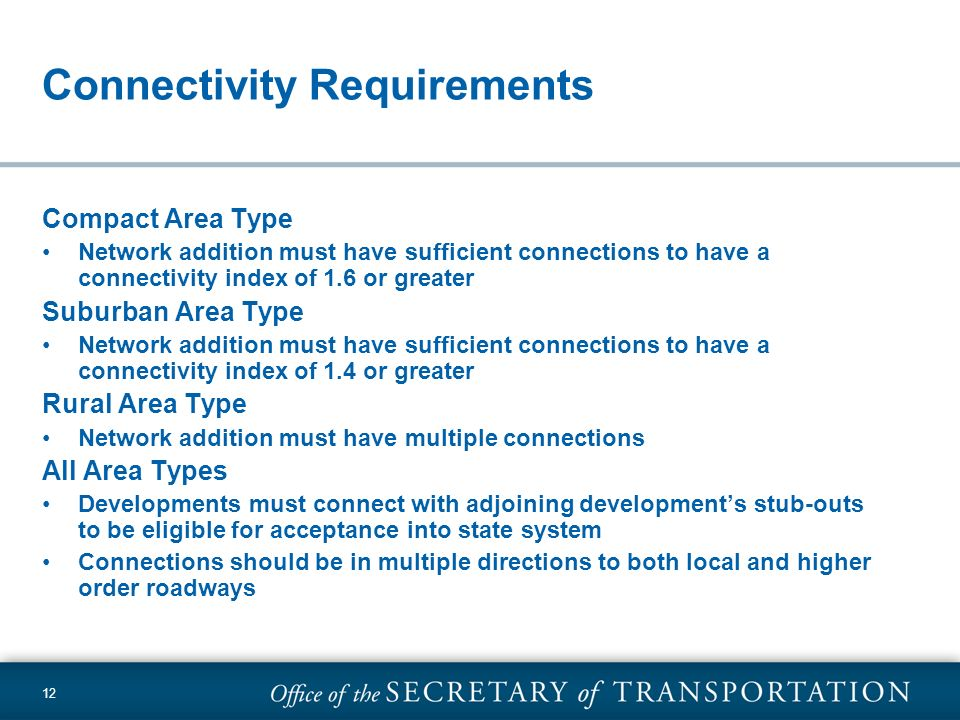 Connectivity Requirements