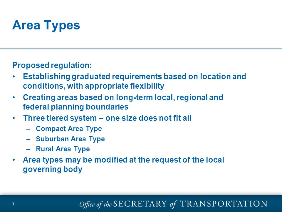 Area Types Proposed regulation: