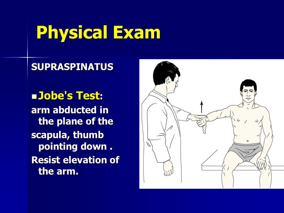 Physical Exam Jobe s Test: SUPRASPINATUS