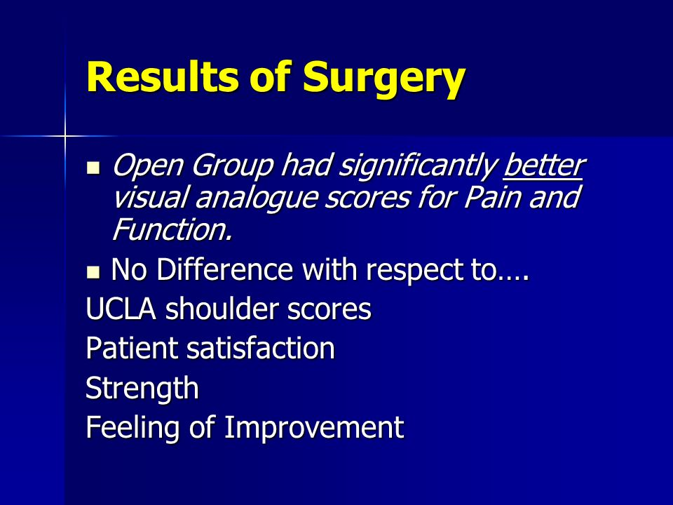 Results of Surgery Open Group had significantly better visual analogue scores for Pain and Function.