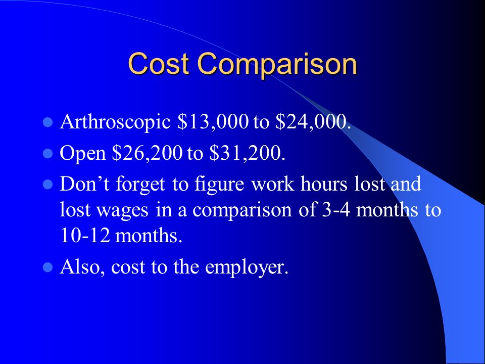 Cost Comparison Arthroscopic $13,000 to $24,000.
